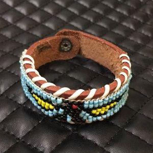 Vintage Boho Tribal Eagle Beaded Leather Bracelet
